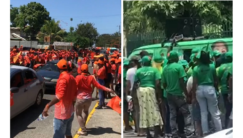 Combination of photos showing Comrades and Labourites supporting their respective candidates.