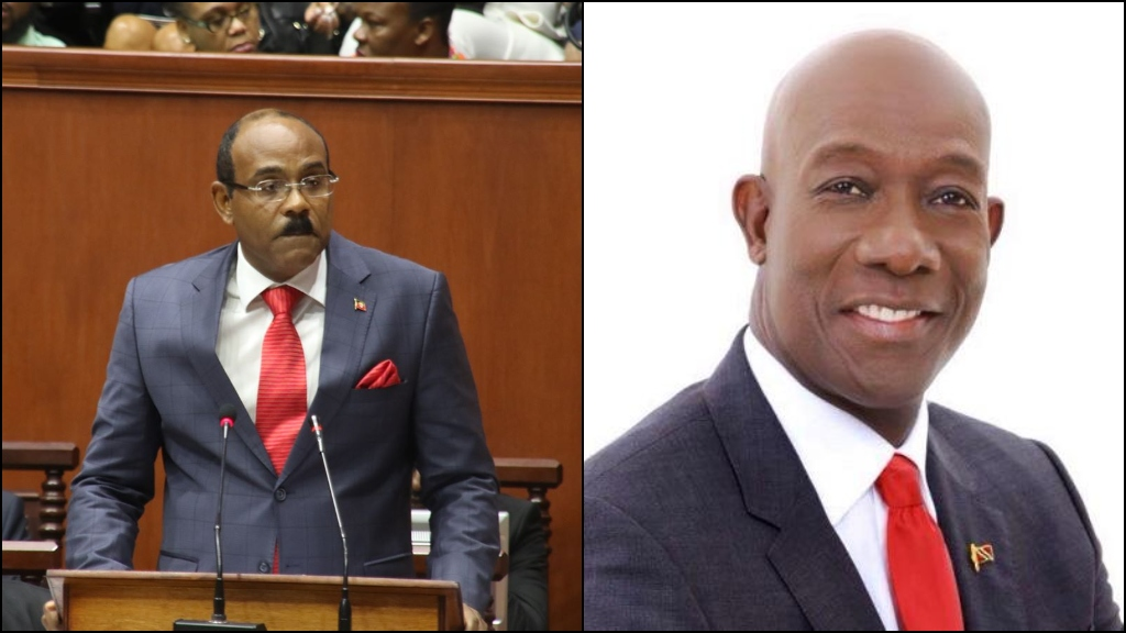 Antigua and Barbuda Prime Minister Gaston Browne (left) and T&T Prime Minister Dr Keith Rowley.