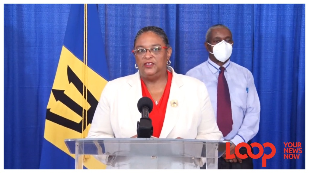 Prime Minister Mia Amor Mottley as she addressed the nation at a press conference on August 2, 2020