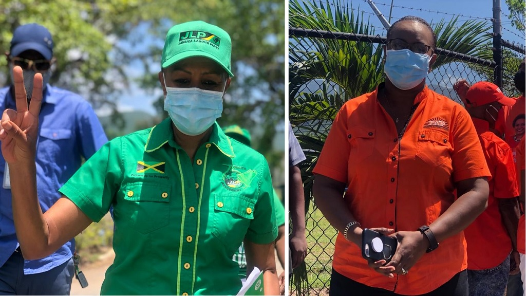 Combination of photos from Nomination Day showing the JLP's Fayval Williams (left) and the PNP's Venesha Phillips.