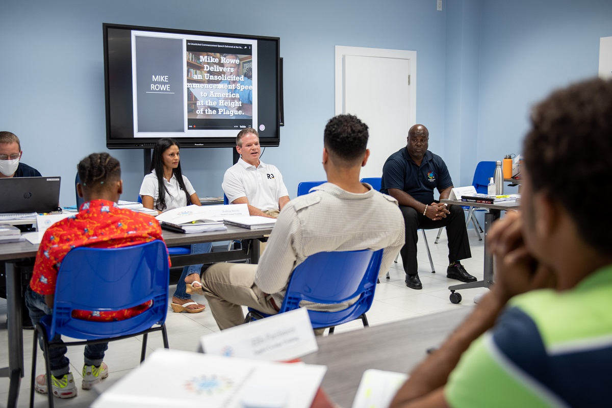 R3 Chairman Bryan Hunter and R3 Recovery Committee Chairwoman Joannah Bodden Small speak to students at Inspire Cayman Training. (Photo: Contributed)