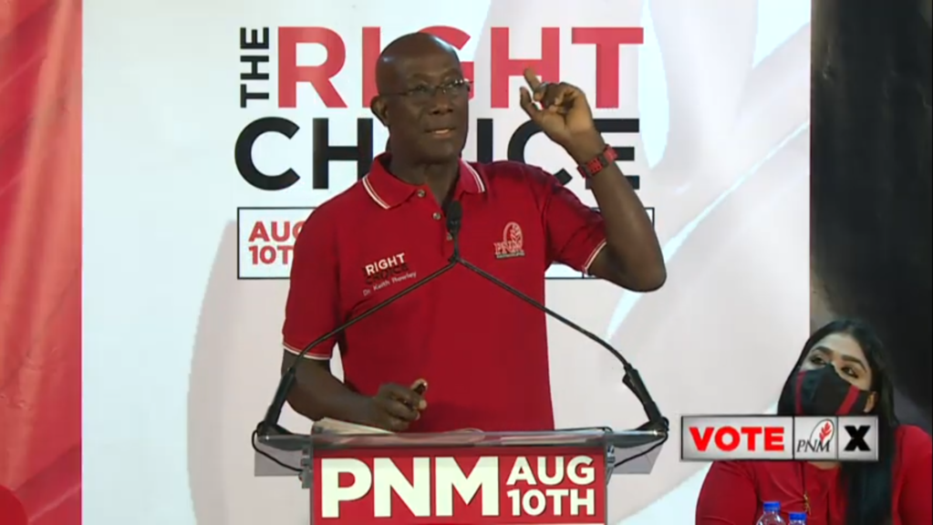 Pictured: Prime Minister Dr Keith Rowley speaks at a political meeting in Chaguanas on August 3, 2020.