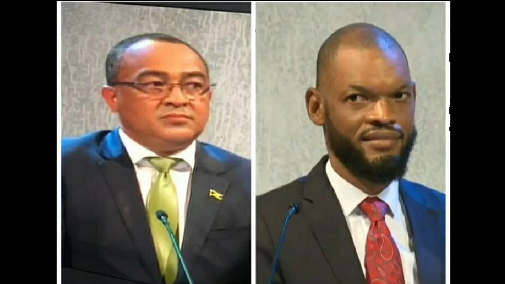Combination of photos showing Health Minister Dr Christopher Tufton (left) of the JLP staring at his opponent Raymond Pryce after the latter made a wry remark during Tuesday night's national election debate.