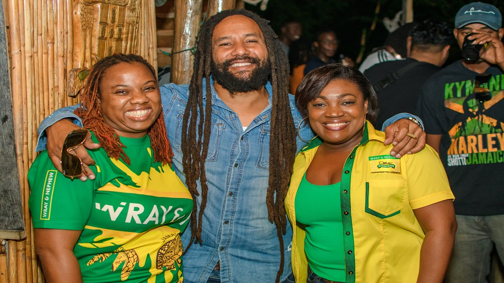 Recording artiste Ky-Mani Marley is flanked by J Wray and Nephew Ltd's Nadia Kiffin-Green Marketing Manager (left) and Marsha Lumley Marketing Director (right).