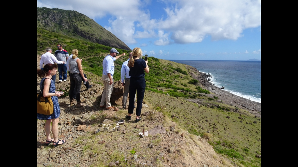 A delegation, including representatives of the Ministry of Infrastructure and Water Management and the Public Entity Saba, visited the area overlooking the Giles Quarter area, locally known as Black Rocks, in January this year. Photo: Public Entity Saba