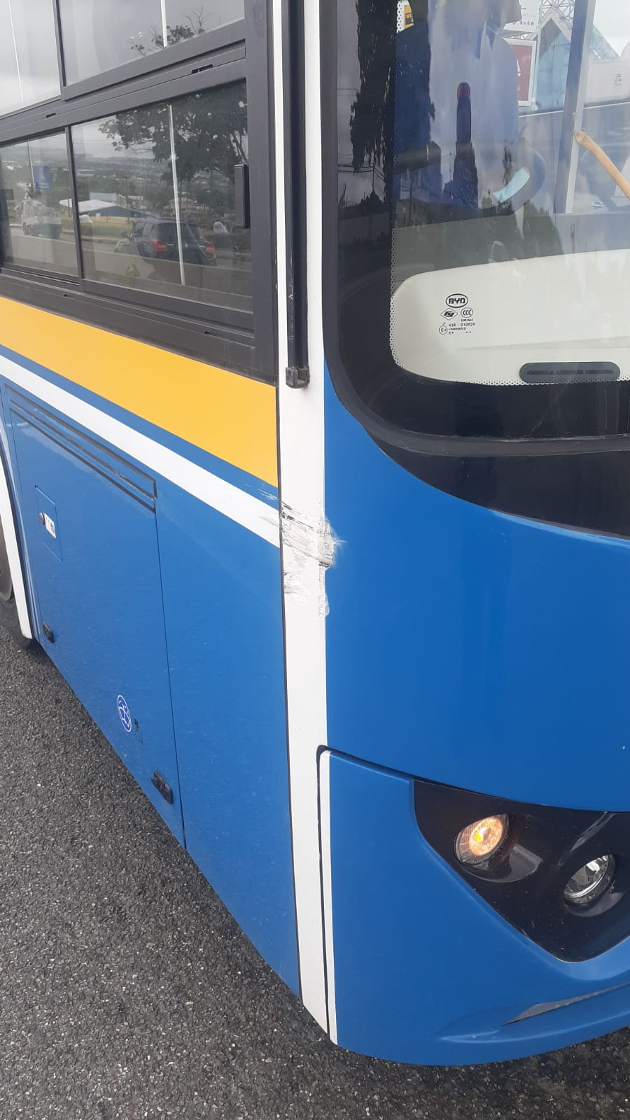 Hit bus after accident
