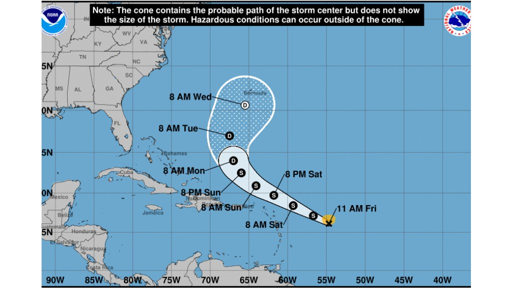 Tropical Storm Jospehine map from National Hurricane Center Update