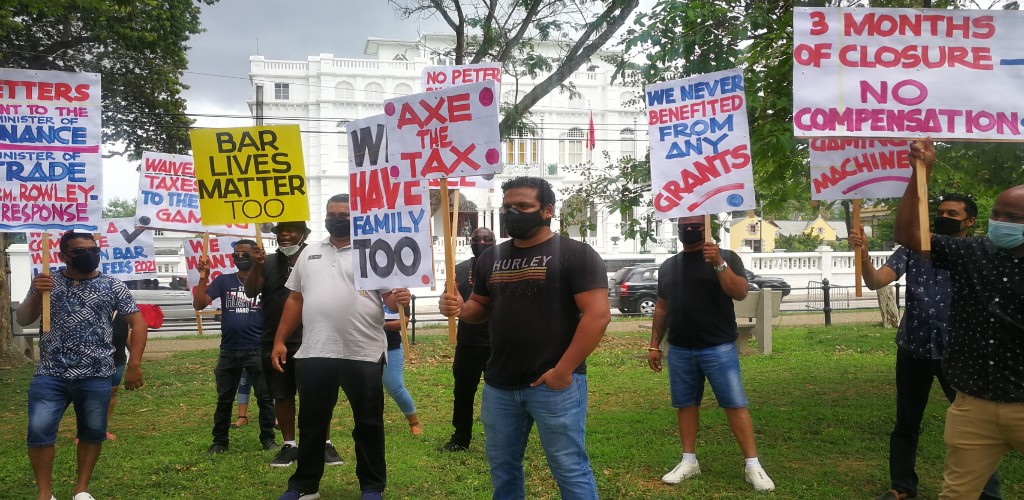 File photo: Members of the Barkeepers and Operators Association (BOATT) staged a protest near the Prime Minister's Office at Whitehall, Port-of-Spain on June 9.