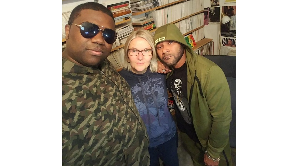(From left) Sugar Bear, Sarah C from Vibe FM in London, and Rayvon.