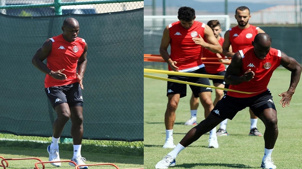 This combination of photos shows Jamaica forward Dever Orgill in training with his new Turkish top division club Antalyaspor. (PHOTOS courtesy  Dever Orgill's Instagram page.)