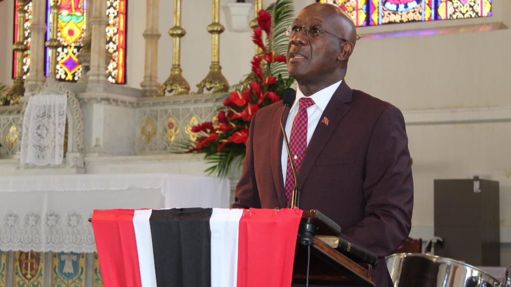 Pictured: Prime Minister Dr Keith Rowley addresses a small gathering during the National Day of Prayer. Photo via Facebook, Dr Keith Rowley.