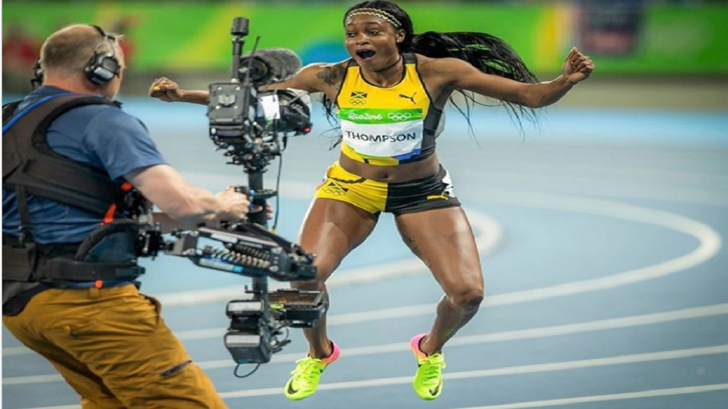 Elaine Thompson-Herah reacts after winning the women's 100m title at the Olympic Games in Rio de Janeiro, Brazil on Saturday, August 13, 2016.