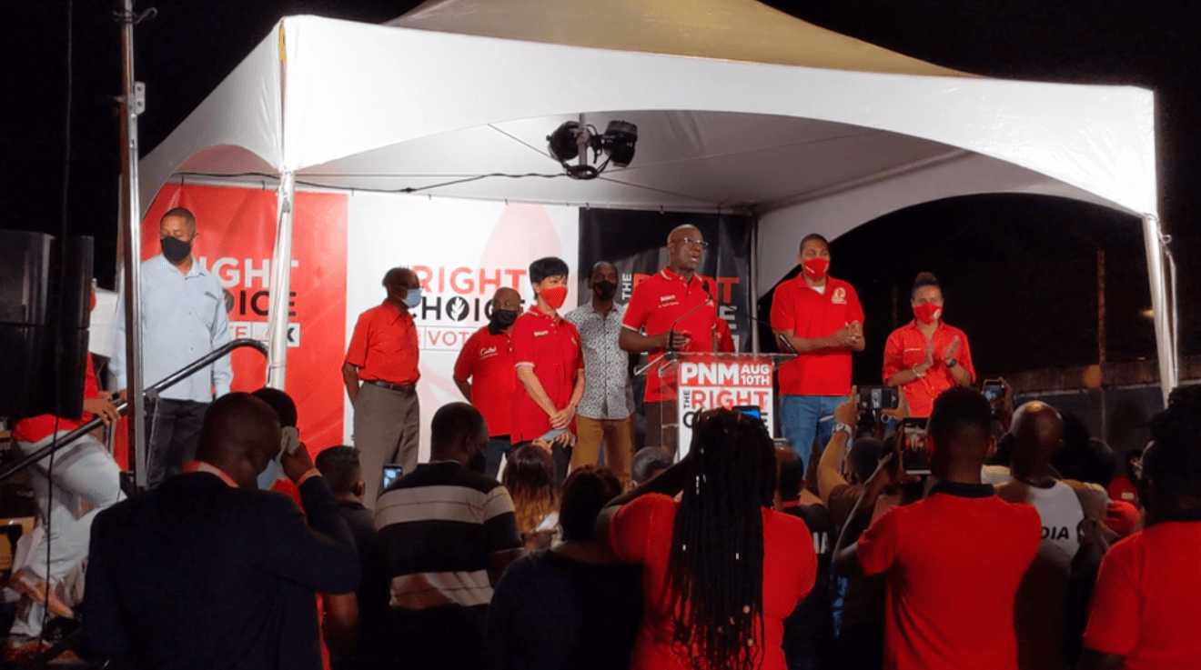 Pictured: PNM leader Dr Keith Rowley claims PNM victory at August 10 polls. Photo by Darlisa Ghouralal.
