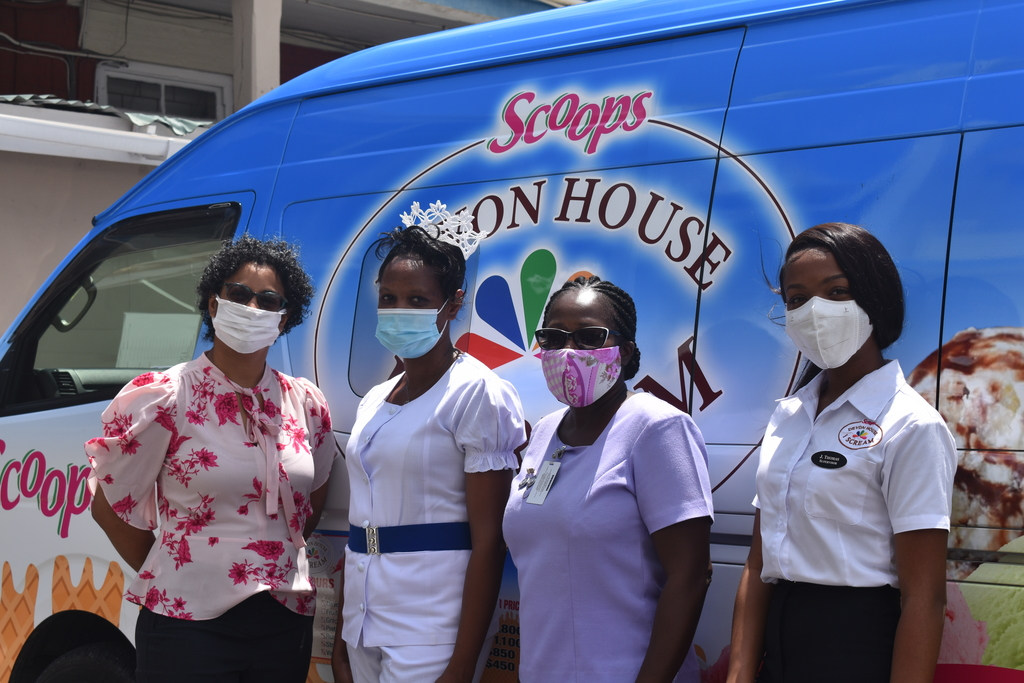 From left:  Michelle Clarke,  Retail Stores Manager, Scoops Unlimited Limited;  Charlene Richards, Departmental Manager - Nurses Division, KPH;  Michelle Roper Carty, Senior Educator/Tutor, KPH; Jeneil Thomas, Supervisor, Scoops Unlimited Limited.