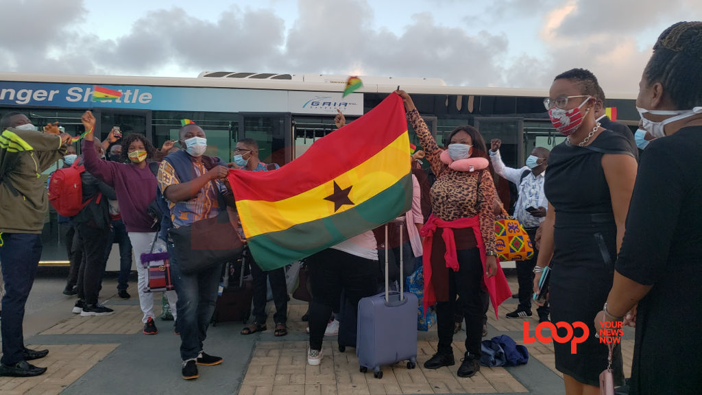 Ghanaians welcomed at the Grantley Adams International Airport on July 30, 2020.
