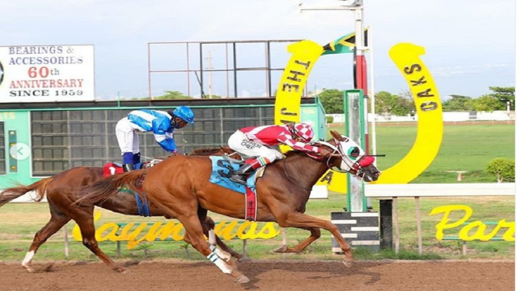 Above And Beyond, with jockey Dane Nelson, beats the Robert Halledeen-ridden Another Affair  to win the Jamaica Oaks, over 10 furlongs, at Caymanas Park on Saturday, August 29, 2020. (PHOTO: caymanasracing).