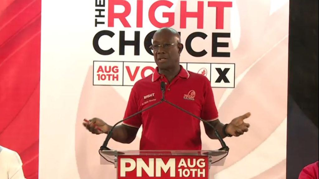 Pictured: Prime Minister Dr Keith Rowley speaks on a political platform in Tunapuna on August 5, 2020.
