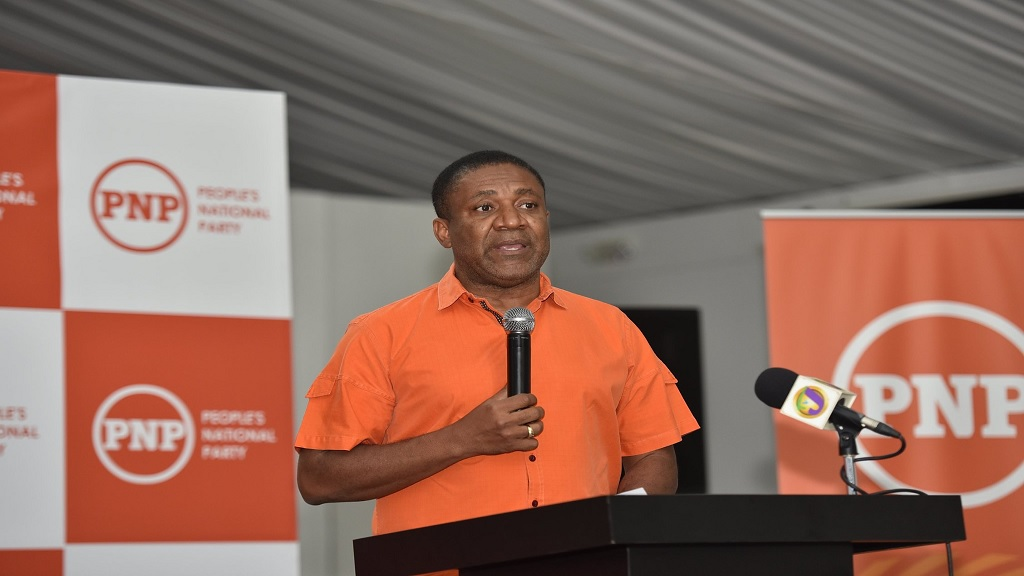 Campaign co-director for the People's National Party, Phillip Paulwell addressing PNP Region One and Six councillors at a party meeting in St James on Sunday. (Photo: PNP Facebook)