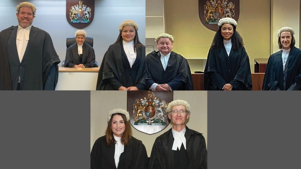 Images (clockwise) L- R: Partner James Eldridge, The Honourable Justice Ramsay-Hale and Juliana Wood L- R: The Honourable Justice Robin McMillan, Hailee Robinson and Partner Caroline Moran L-R: Lucy Day and Partner Colin McKie QC