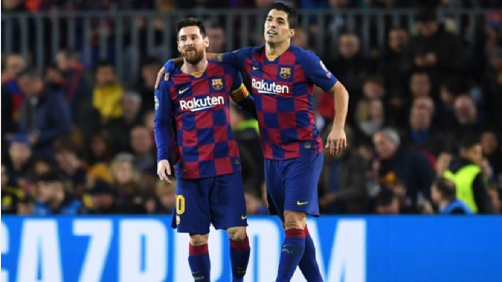 Lionel Messi (left) and Luis Suarez at Barcelona.
