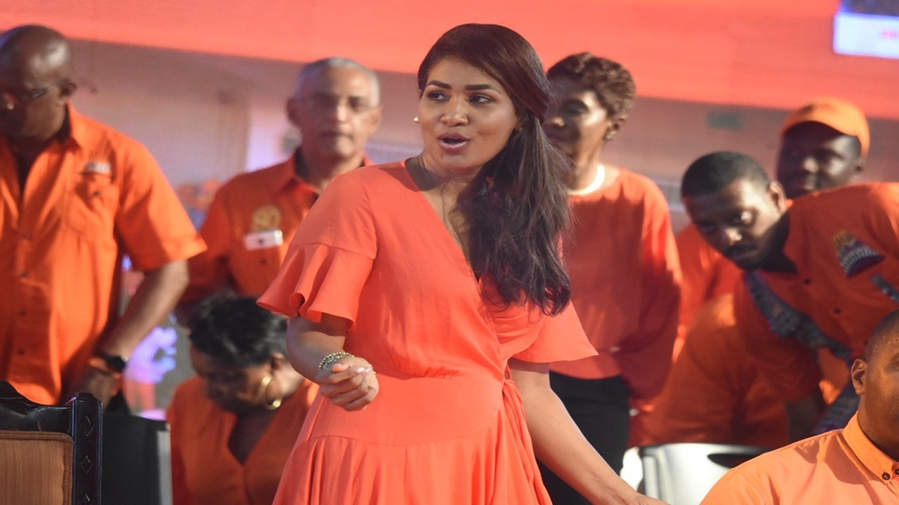 File photo of the People's National Party's Lisa Hanna dancing at the party's annual conference last year.