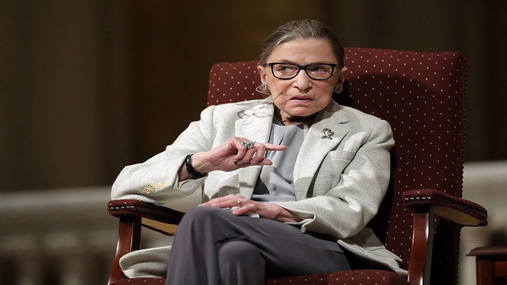 In this February 6, 2017 photo, Supreme Court Justice Ruth Bader Ginsburg speaks at Stanford University in Stanford, California. (AP Photo/Marcio Jose Sanchez, File)
