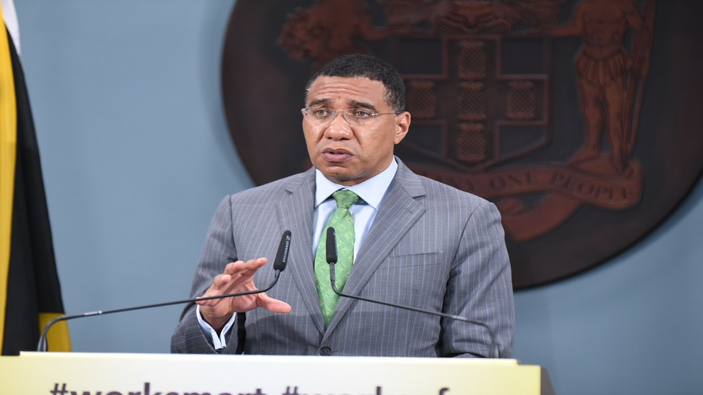 JIS file photo of Prime Minister Andrew Holness speaking at a digital press conference.