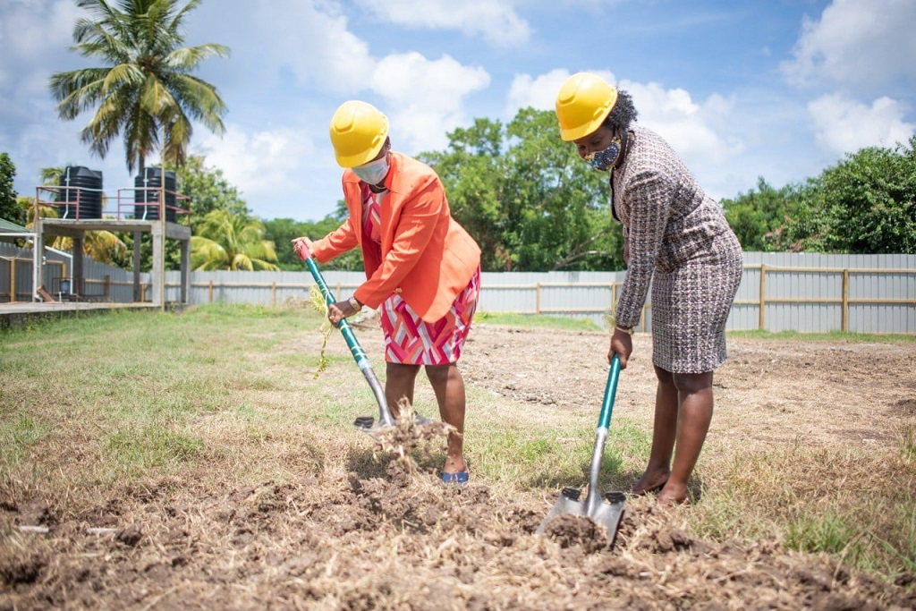 Sod turning event for the refurbishment project at Bishops College, Carriacou.