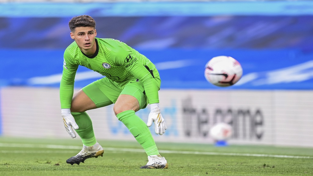 Chelsea's goalkeeper Kepa Arrizabalaga watches the ball during the English Premier League football match against Liverpool at Stamford Bridge Stadium, Sunday, Sept. 20, 2020. (Michael Regan/Pool via AP).