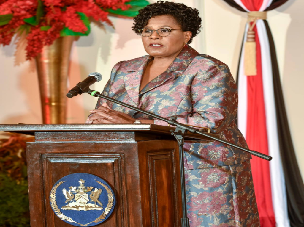 Pictured: President Paula Mae Weekes speaks at the swearing-in of Cabinet on August 19, 2020. Photo via Facebook, Office of the President.