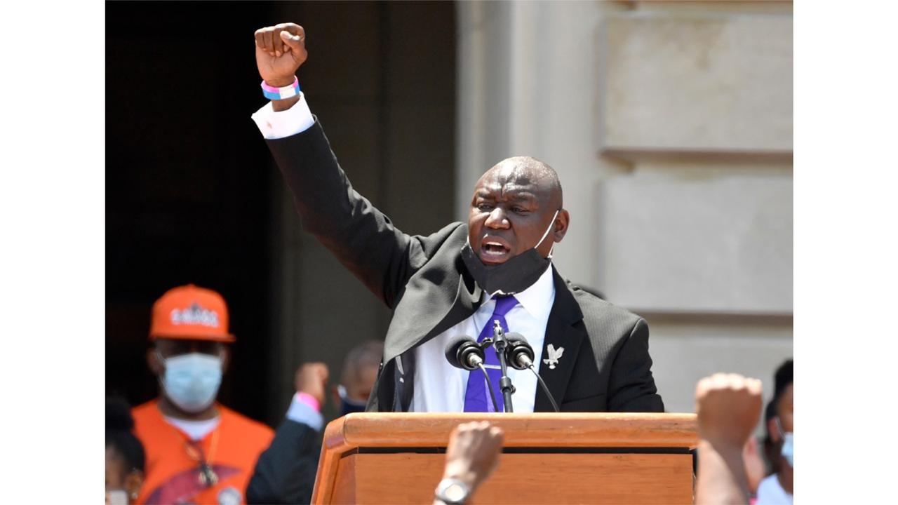 In this June 25, 2020 file photo Attorney Benjamin Crump speaks to a gathering on the steps at the Kentucky State Capitol in Frankfort, Ky. Crump is representing the family of a Black man who was shot and killed Los Angeles County sheriff's deputies after he was stopped for a traffic violation while riding a bicycle and later