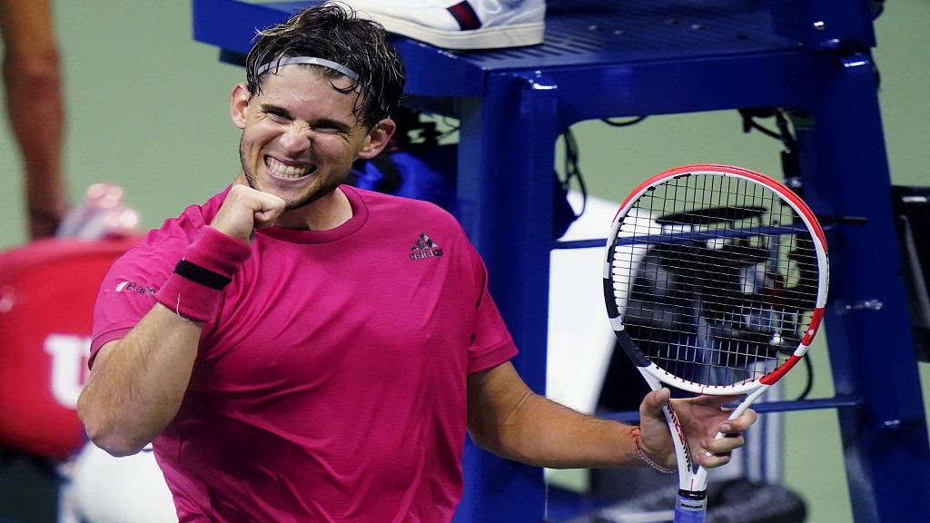 Dominic Thiem, of Austria, pumps his fist after defeating Alex de Minaur, of Australia, during the quarterfinal round of the US Open tennis championships, Wednesday, Sept. 9, 2020, in New York. (AP Photo/Frank Franklin II).