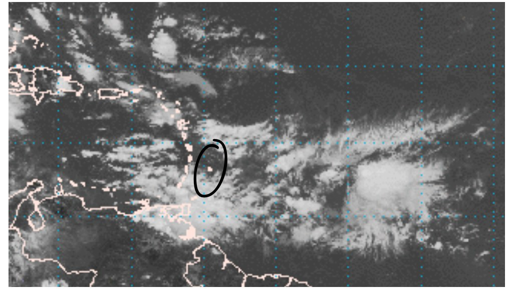 Map showing approaching tropical wave