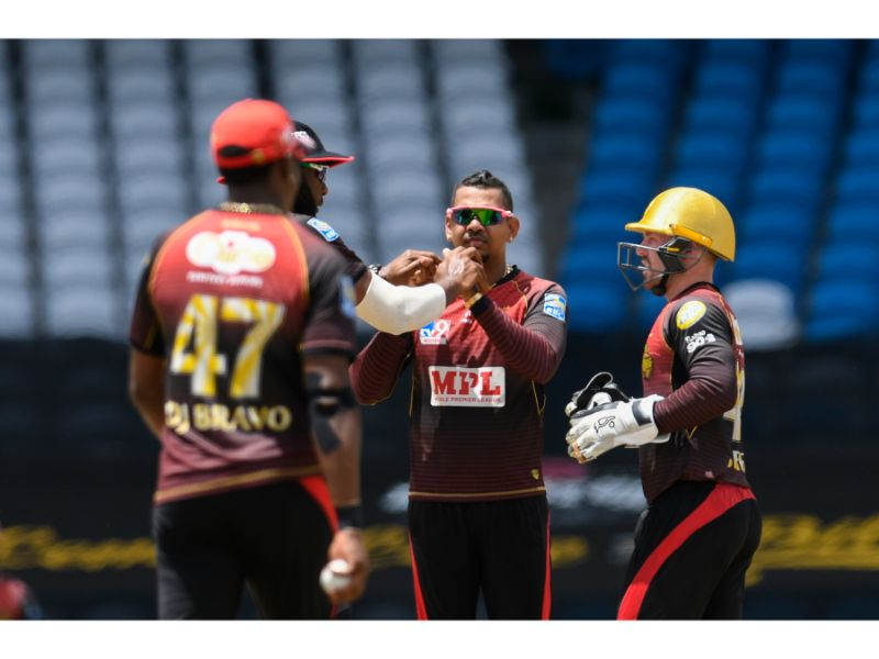 Sunil Narine takes another wicket during the Trinbago Knight Riders' 11th win of the season, against the Jamaica Tallawahs on 8th August 2020 at the Brian Lara Cricket Academy, Tarouba. (Photo by Randy Brooks - CPLT20/Getty Images)