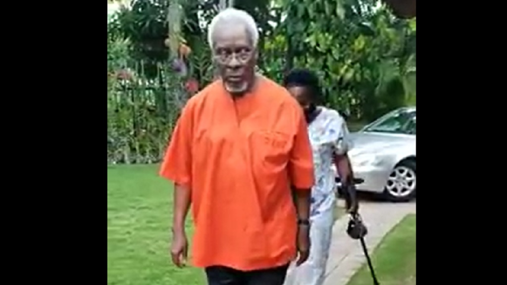 Screen grab of the video showing former Prime Minister PJ Patterson walking unaided a year after hip and knee surgery.