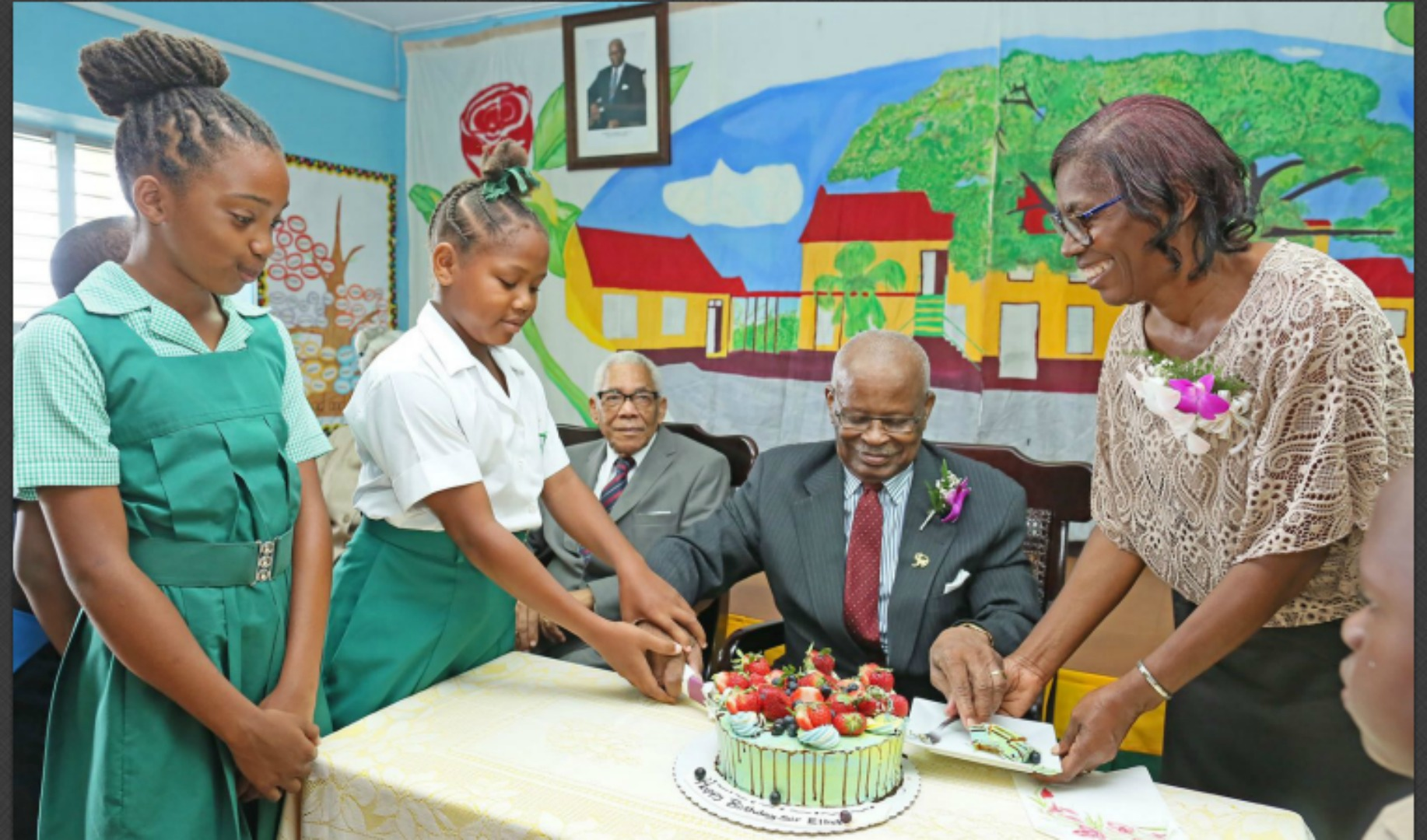 Former Governor General Sir Elliott Belgrave on a visit to the then Boscobel Primary School. (FILE)