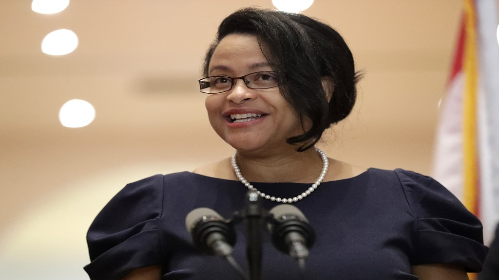 In this May 26, 2020 file photo, Renatha Francis smiles as she speaks at a news conference in Miami. (AP Photo/Wilfredo Lee, File)