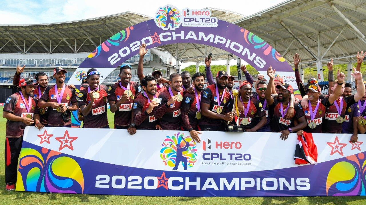 Trinbago Knight Riders celebrate winning the Hero Caribbean Premier League Final match 33 between Trinbago Knight Riders and St Lucia Zouks at Brian Lara Cricket Academy on September 10, 2020 in Tarouba, Trinidad And Tobago. (Photo by Randy Brooks - CPL T20/CPL T20 via Getty Images)