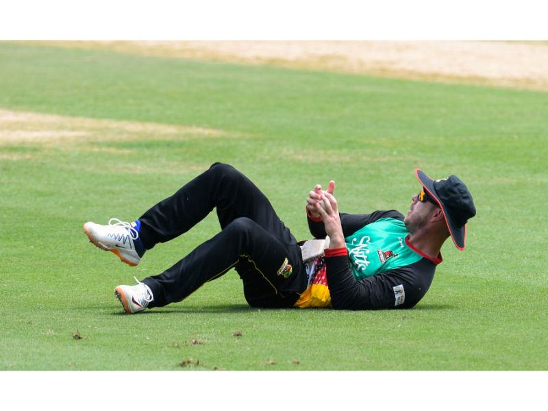 St Kitts and Nevis Patriots fielder Chris Lynn takes a tumbling catch during their loss to the Trinbago Knight Riders on 2nd September 2020 at the Brian Lara Cricket Academy. (Photo by Randy Brooks - CPLT20/Getty Images)
