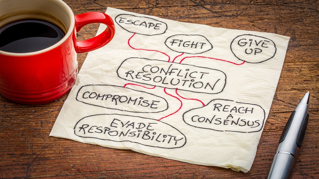 Conflict resolution strategies on napkin iStock photo.