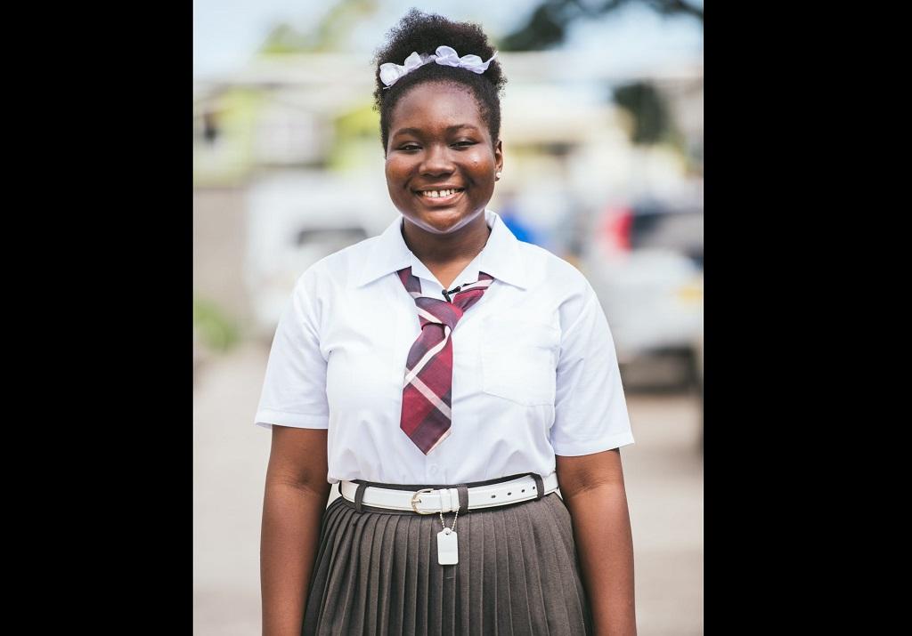 Ranika Bubb, a student of Hillsborough Secondary School.