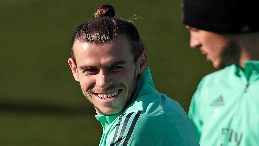 In this Monday, Nov. 25, 2019 file photo, Real Madrid's Gareth Bale takes part in a training session at the team's Valdebebas training ground in Madrid, Spain. (AP Photo/Manu Fernandez, File).