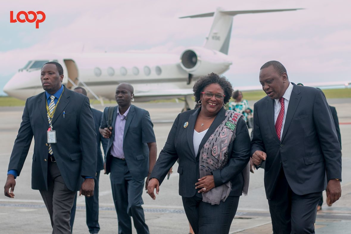 Prime Minister Mia Mottley and the President of Kenya Uhuru Kenyatta on his visit to Barbados before COVID-19.