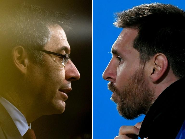 Combo-photo représentant le président du FC Barcelone Josep Maria Bartomeu et sa mégastar Lionel Messi, réalisé le 5 septembre 2020 Josep LAGO, LLUIS GENE AFP/Archives