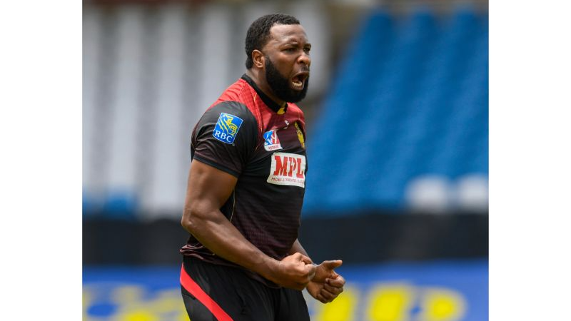 Kieron Pollard celebrates after taking a wicket during his 4/30 in the 2020 Hero Caribbean Premier League final against the St Lucia Zouks on 10th September 2020 at the Brian Lara Cricket Academy, Tarouba. (Photo by Randy Brooks - CPLT20/Getty Images)
