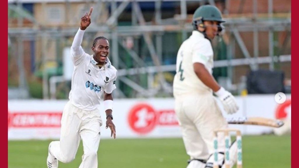 England pacer Jofra Archer in action during England's Test series against Pakistan.