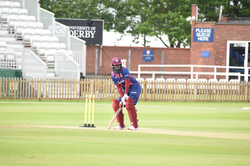 West Indies women's team member Lee-Ann Kirby batting during the second warm-up match at Derby. (Photo courtesy Cricket West Indies Media)