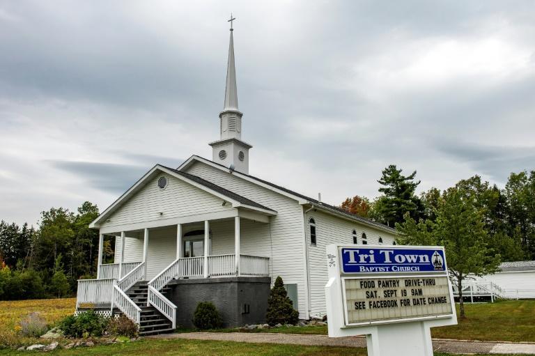 L'église baptiste de Tri-Town où a eu lieu début août un mariage auquel ont été reliés 7 morts et au moins 177 personnes infectées, photographiée ici en septembre 2020 à East Millinocket dans l'Etat américain du Maine afp.com - Joseph Prezioso