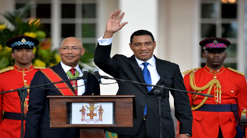 Andrew Holness (second right) being previously sworn in as Prime Minister of Jamaica by Governor-General, Sir Patrick Allen (second left).