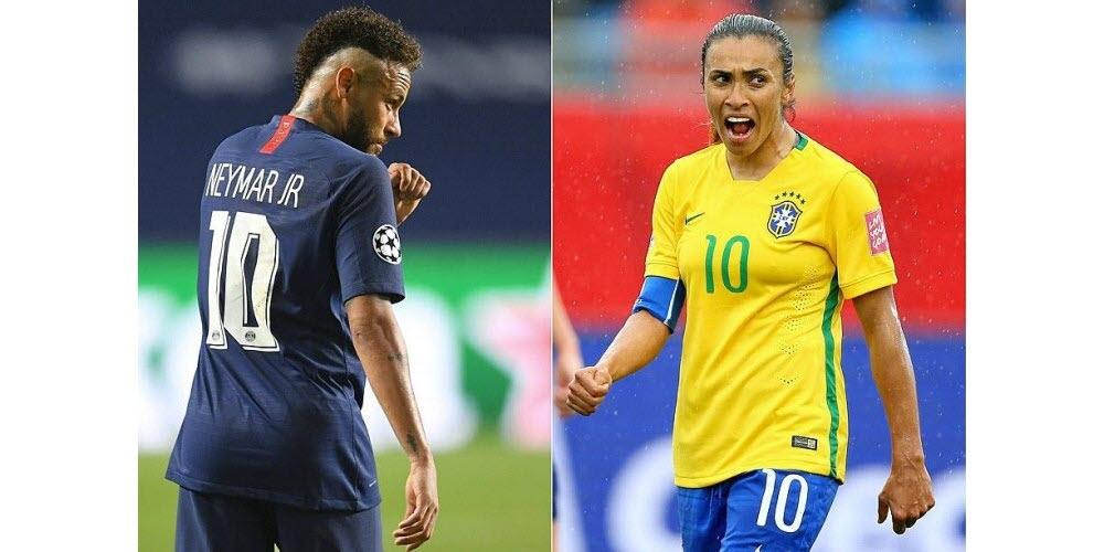 Neymar et Marta, les stars de la Seleção brésilienne. Photos David Ramos et ELSA / AFP